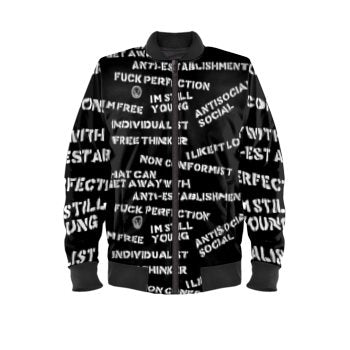 Front stencil mens luxury streetwear white on black bomber jacket no fixed abode
