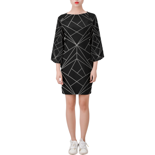 The No Fixed Abode Bell Sleeve Shift Dress, with white geometric lines on black luxury streetwear