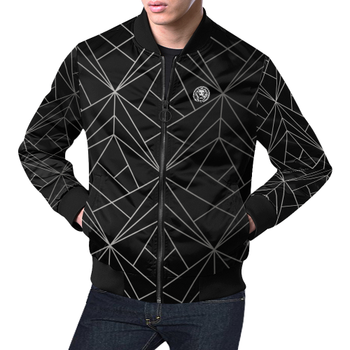 NO FIXED ABODE,Geo Mens Bomber Black,Jacket,XS