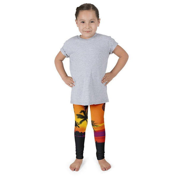 NO FIXED ABODE,Girls Tropical Storm Collection leggings Orange and Black,Bottoms,2T (1-2yr)