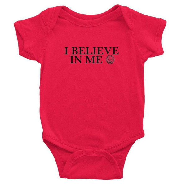 I Believe in Me Baby Bodysuit-Bodysuit-0-3 Months-Red-NO FIXED ABODE Luxury Streetwear UK