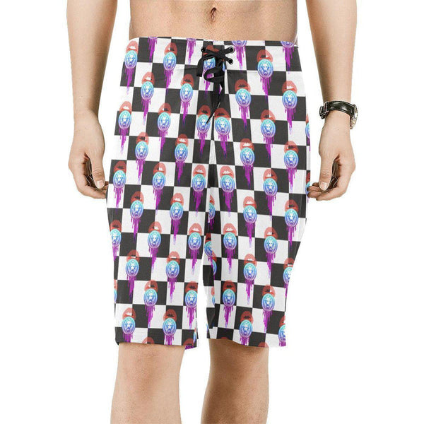 Ice Lolly Check Mens Board Shorts-Shorts-S-NO FIXED ABODE Luxury Streetwear UK