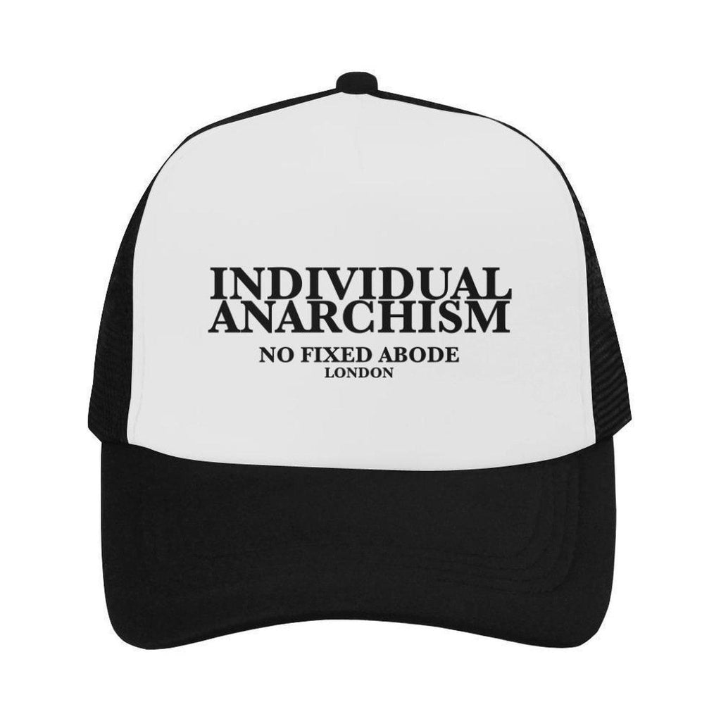 NO FIXED ABODE,Individual Anarchism Black Serif Trucker Trucker Hat,Hats,One Size