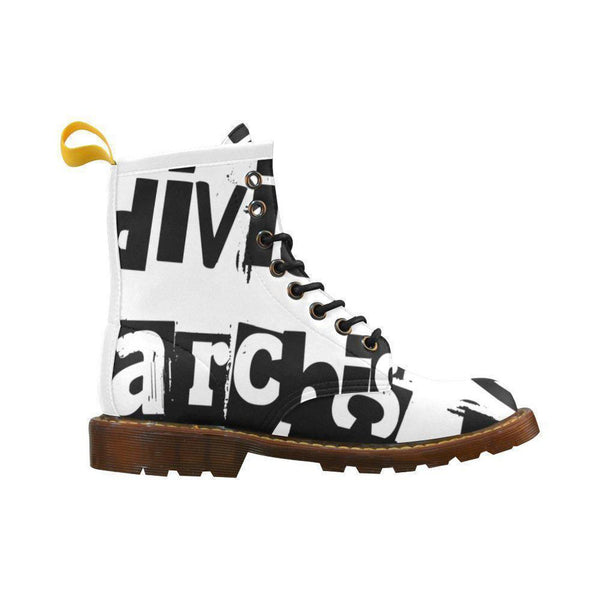 Individual Anarchism Black & White Mens Combat Boots,Footwear,NO FIXED ABODE,[uk],[luxury_streetwear],[free_shipping]