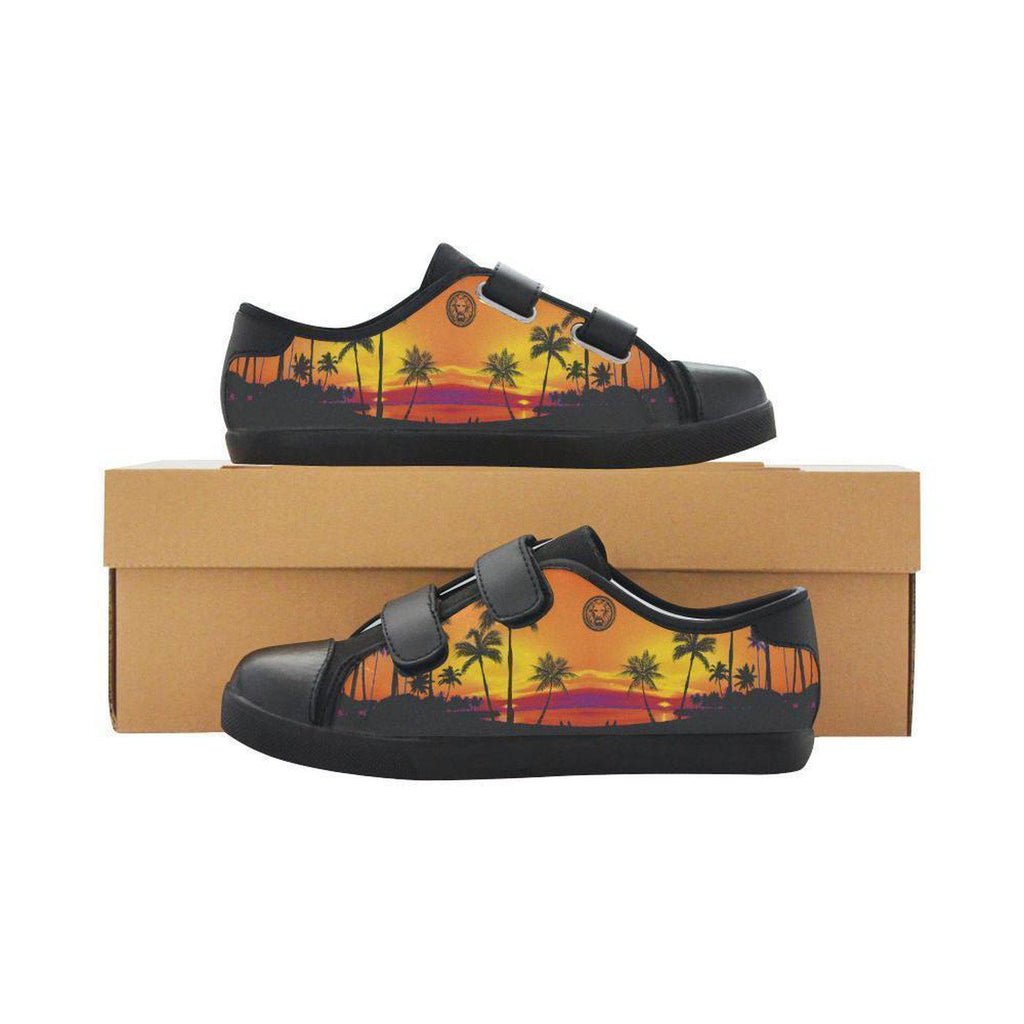 Kids Tropical Black Palm Trees Black Velcro trainers-Shoes-US1-NO FIXED ABODE Luxury Streetwear UK