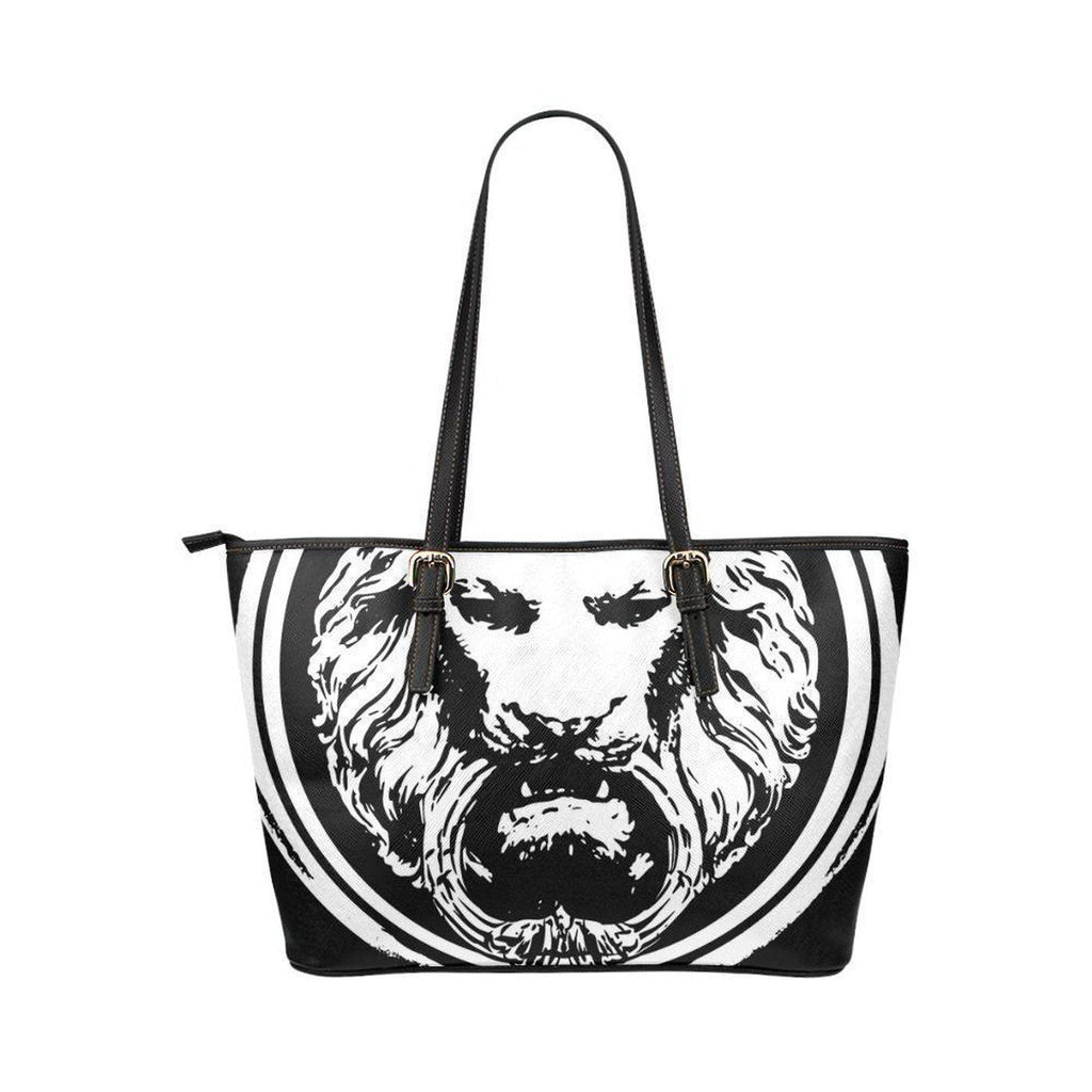 NO FIXED ABODE,Lion Large Black PU Leather Tote Bag,Bags,One Size