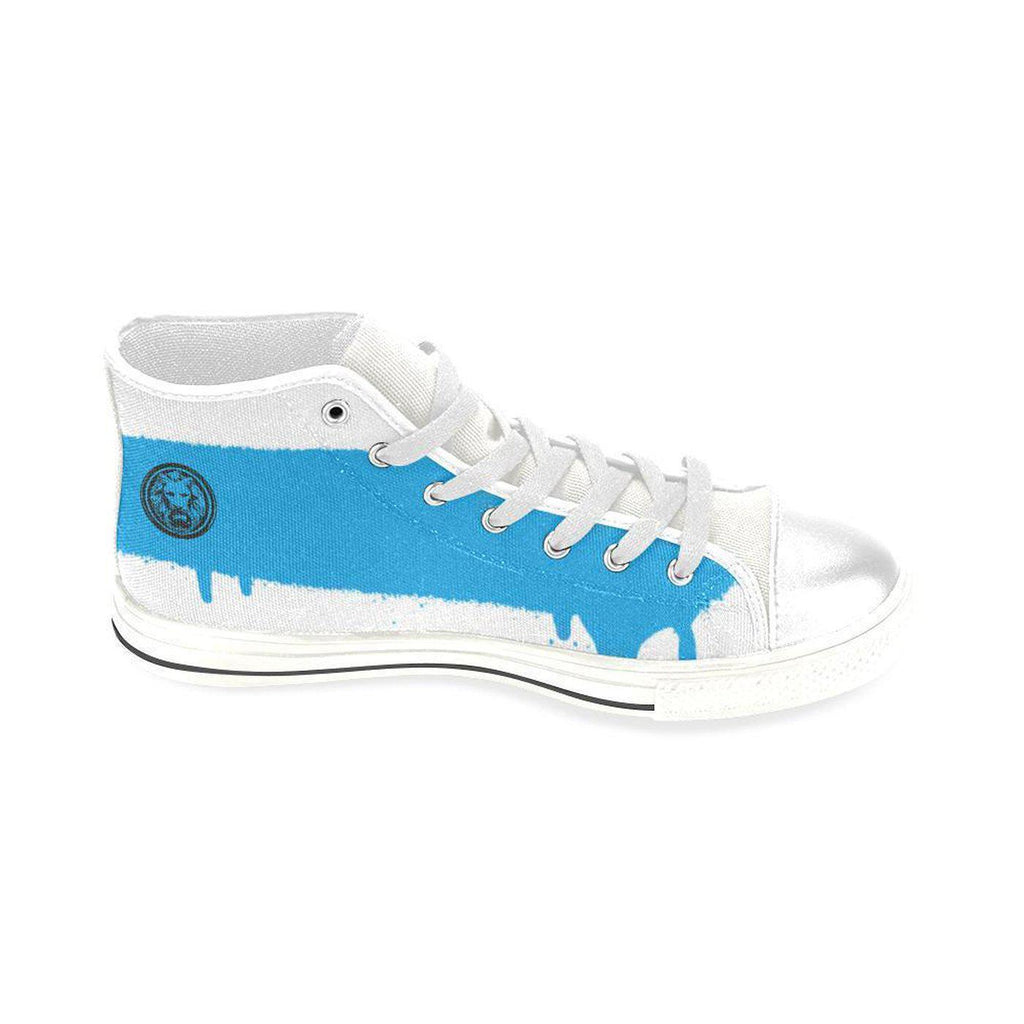 Mens Blue Line on White Basketball Shoes,Footwear,NO FIXED ABODE,[uk],[luxury_streetwear],[free_shipping]