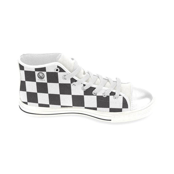 Mens Checkered Basketball High Top Canvas Shoes,Footwear,NO FIXED ABODE,[uk],[luxury_streetwear],[free_shipping]