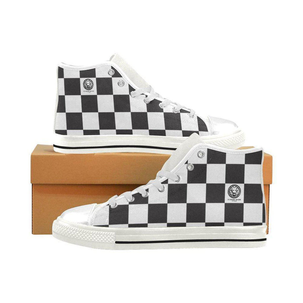 NO FIXED ABODE,Mens Checkered Basketball High Top Canvas Shoes,Footwear,US6