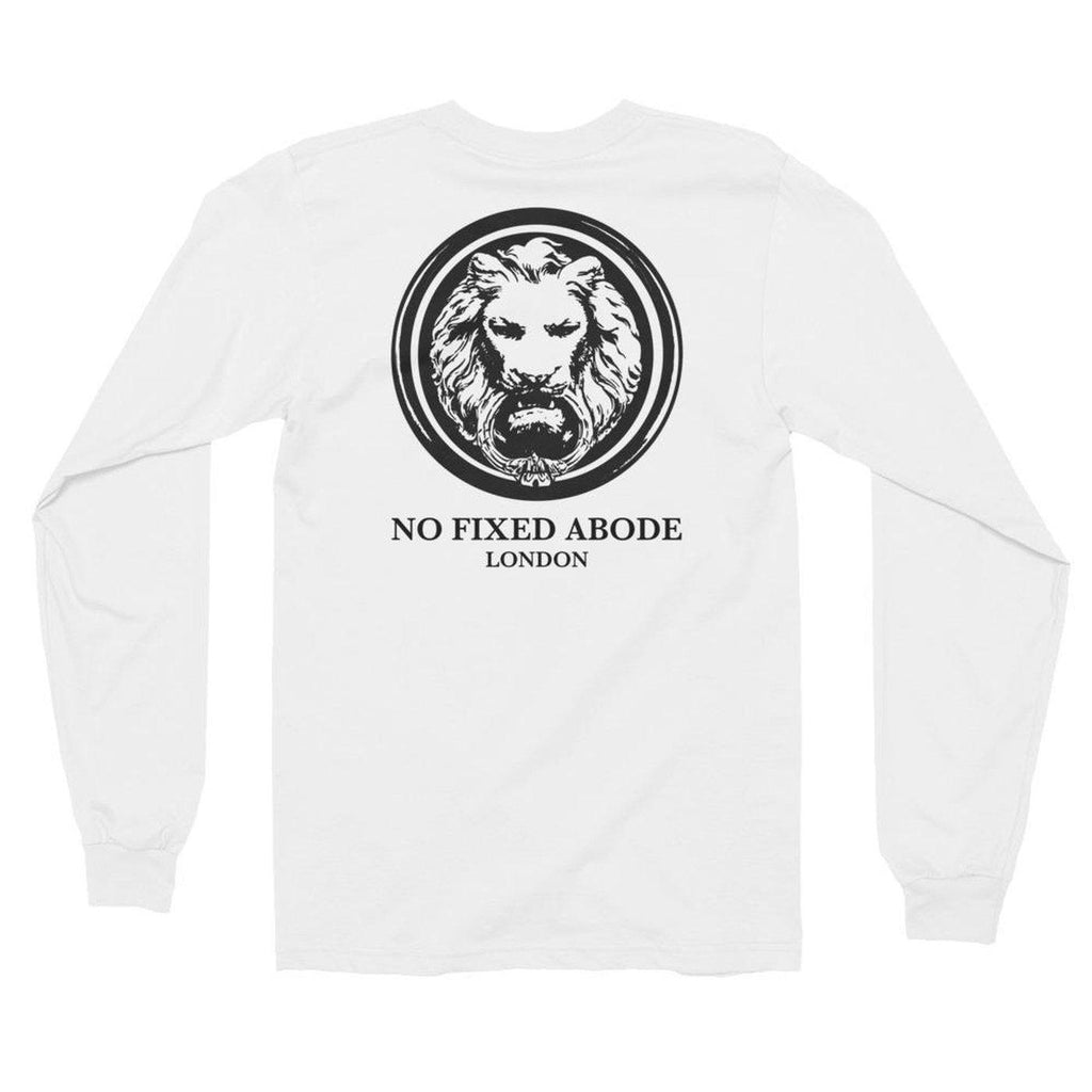 NO FIXED ABODE,Mens Lion Back Long Sleeve T-Shirt,T-Shirts,White / S