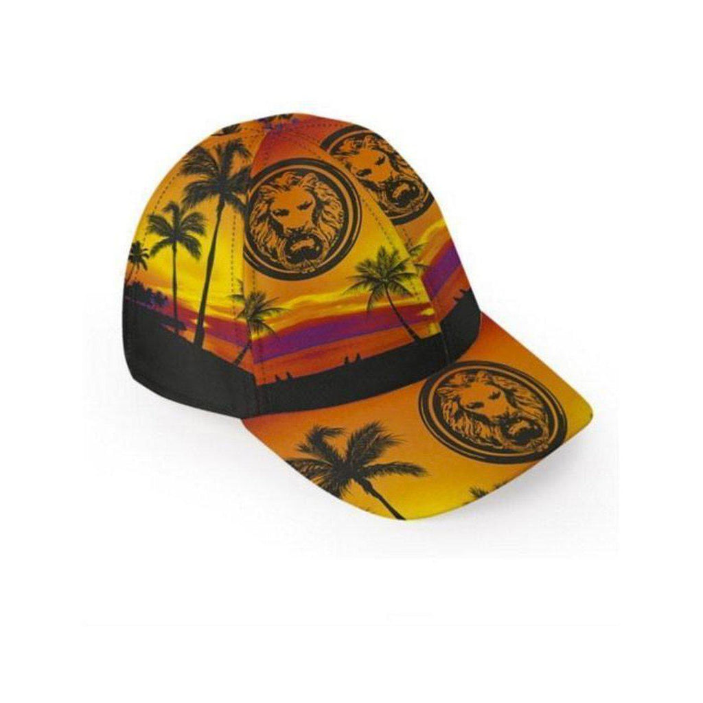 NO FIXED ABODE,Mens Orange Tropical Luxury Baseball Cap,Hat,S-M