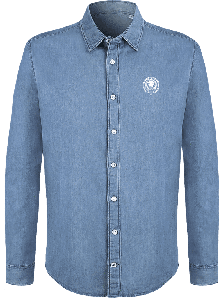 NO FIXED ABODE,Mens Organic Denim Shirt,Shirts,Denim Blue / S