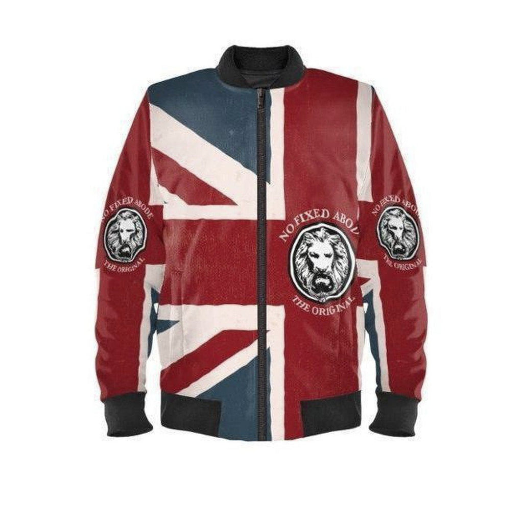 NO FIXED ABODE,Mens Union Jack Waterproof Bomber Jacket Limited Edition,Jackets and Coats,XXS / Multi / Satin