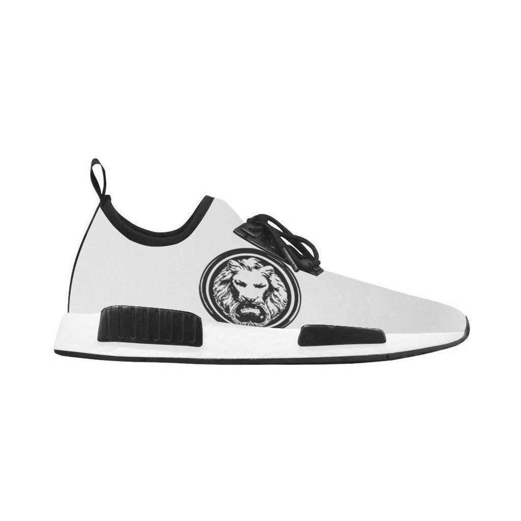 Mens White Trainer with Black Lion, Run Style Shoes,Footwear,NO FIXED ABODE,[uk],[luxury_streetwear],[free_shipping]