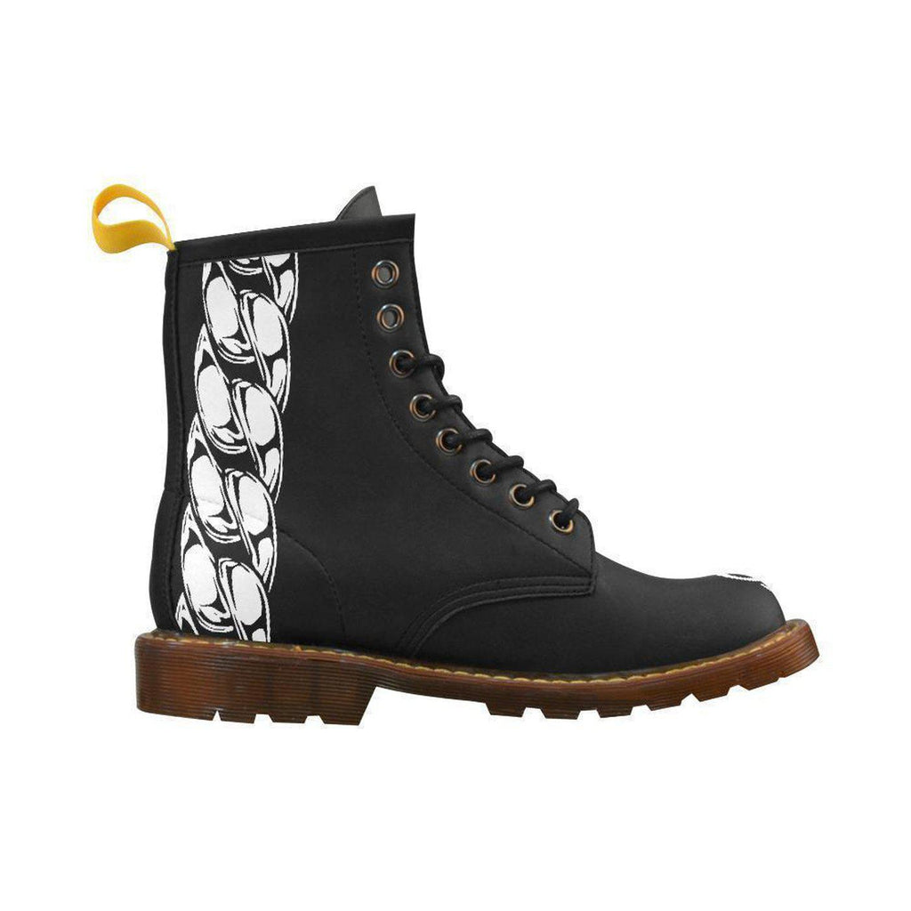 NFA Mens Black Chain Lion Combat Boots,Footwear,NO FIXED ABODE,[uk],[luxury_streetwear],[free_shipping]