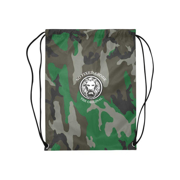 NFA The Original Green Camo Medium Drawstring Bag,Bags,NO FIXED ABODE,[uk],[luxury_streetwear],[free_shipping]