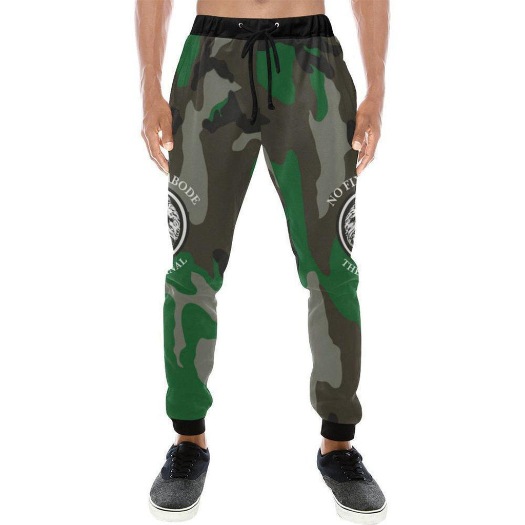 NO FIXED ABODE,NFA The Original Green Mens Camo Track Pants,Trousers,XS