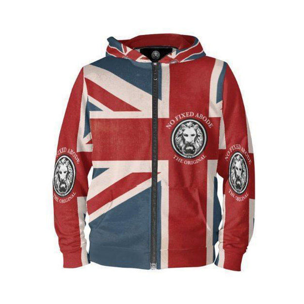 NO FIXED ABODE,NFA Womens The Original Union Jack Zip Hoodie,Sweatshirt,S