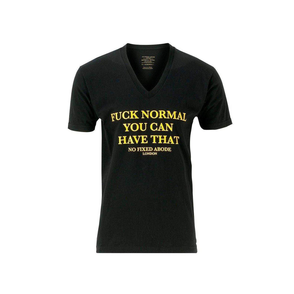 NO FIXED ABODE,No Fixed Abode Fuck Normal V Neck Black T-Shirt,T-Shirts,X Small / Yellow