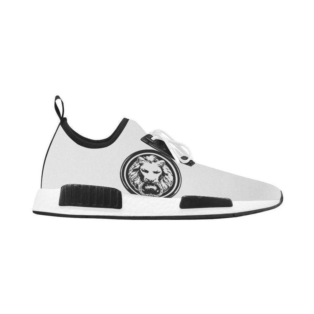 No Fixed Abode Mens White Trainer with Black Lion, White Laces,Footwear,NO FIXED ABODE,[uk],[luxury_streetwear],[free_shipping]