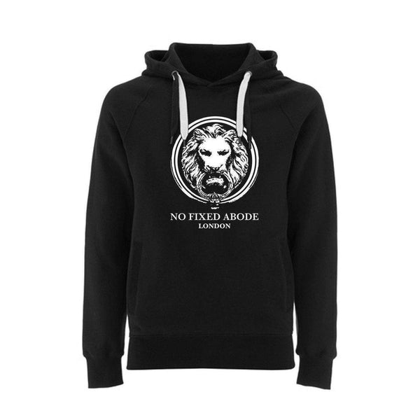 NO FIXED ABODE,Organic Hoodie Large Lion Front Pockets,Sweatshirts,Unisex / Black / Small