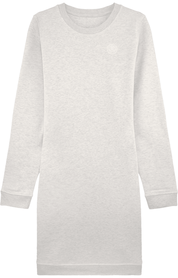 Organic Sweatshirt Dress Round Neck-Dresses-White-XS-NO FIXED ABODE Luxury Streetwear UK
