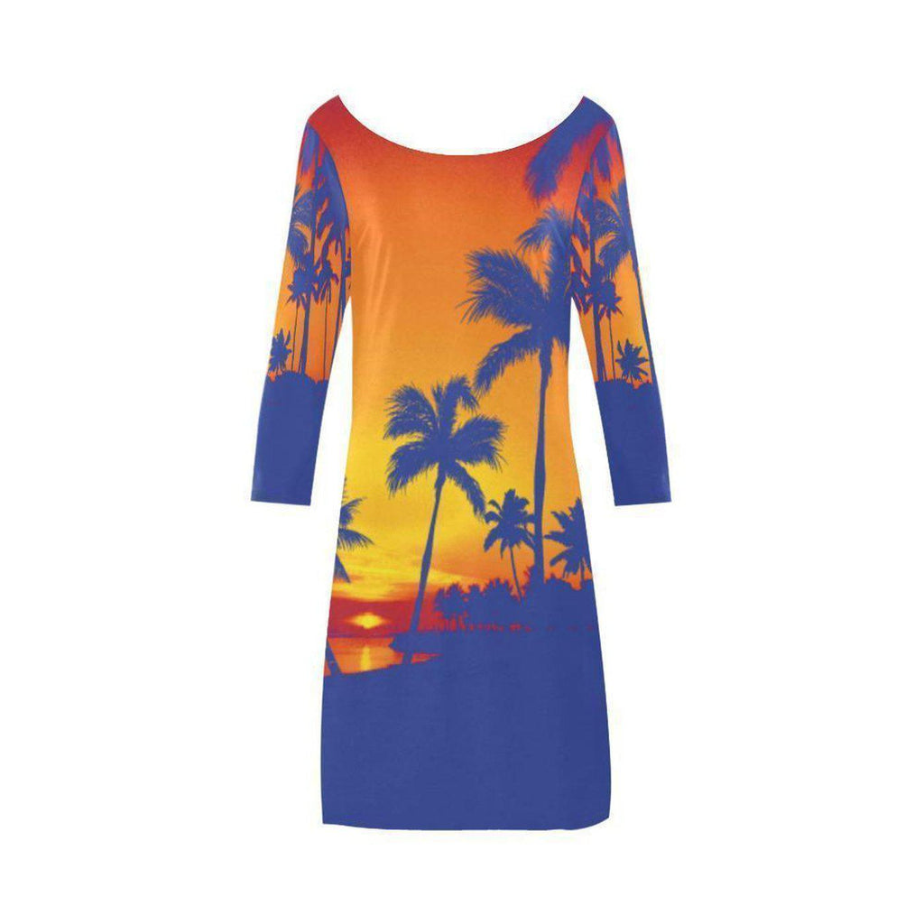 Purple Yellow Palm Trees Scoop Neck A-Line Dress-Dresses-XS-NO FIXED ABODE Luxury Streetwear UK