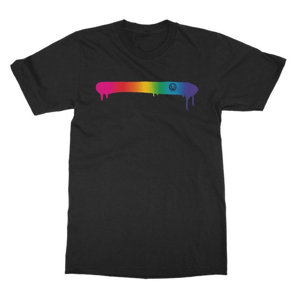 Rainbow Spray Paint Adult T-Shirt-T-Shirts-Black-S-NO FIXED ABODE Luxury Streetwear UK