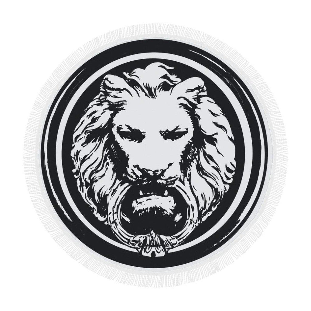 Round Large Lion Black and White Luxury Towel,Accessories,NO FIXED ABODE,[uk],[luxury_streetwear],[free_shipping]