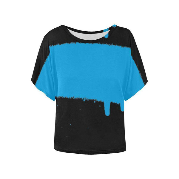 Spray Paint Blue Bat Wing Sleeved Womens Top-Tops-XS-NO FIXED ABODE Luxury Streetwear UK