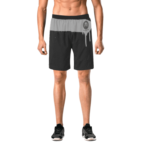 NO FIXED ABODE,Spray Paint Grey Mens Black Shorts,Shorts,S