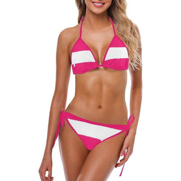 NO FIXED ABODE,Spray White Pink Bikini,Bikini,S