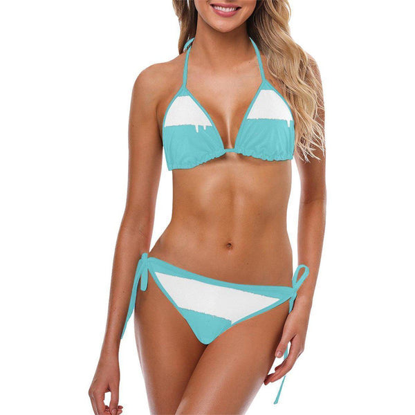 NO FIXED ABODE,SprayPaint White Turquoise Womens Bikini,Bikini,S