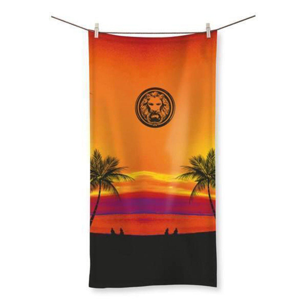 "NO FIXED ABODE,Tropical Palm Tree Lion Beach Towel,Accessories,19.7""x39.4"""