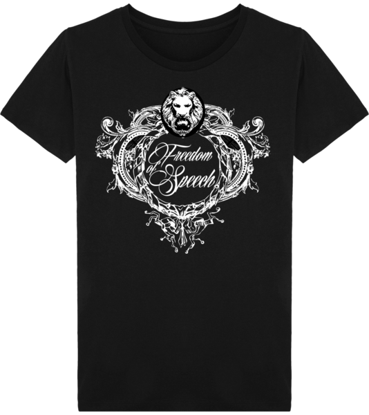 Freedom of Speech Crest Organic Mens T-Shirt Black Front No Fixed Abode Luxury Streetwear
