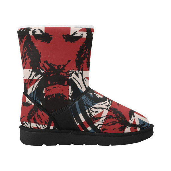 NO FIXED ABODE,Union Jack Lion Winter Snow Boots Unisex Single Button,Footwear,US5.5