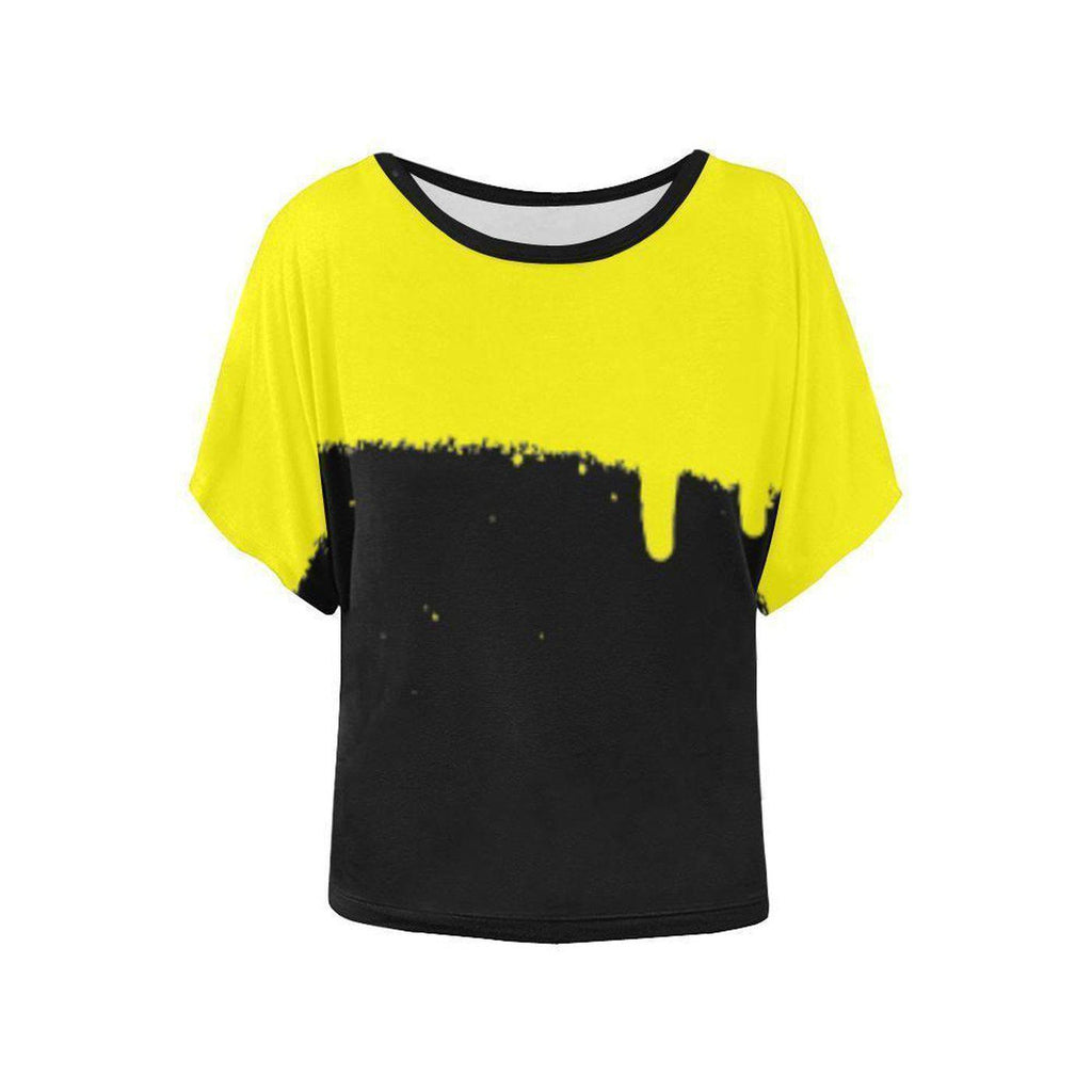 NO FIXED ABODE,Women's Batwing-Sleeved Yellow Spray Top,Tops,XS
