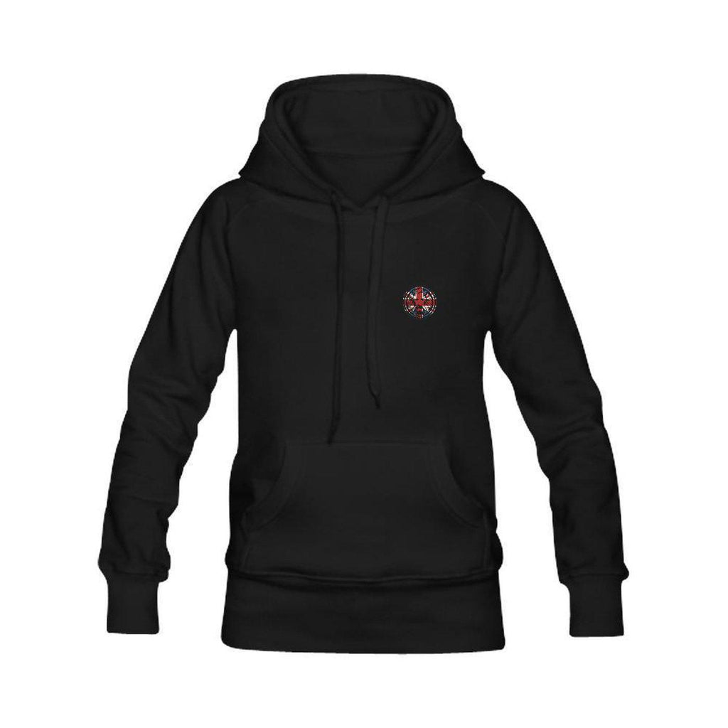Womens Black Hoodie Large Union Jack on Back,Sweatshirts,NO FIXED ABODE,[uk],[luxury_streetwear],[free_shipping]