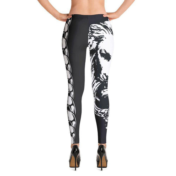 Womens Black Lion Chain Leggings,Bottoms,NO FIXED ABODE,[uk],[luxury_streetwear],[free_shipping]