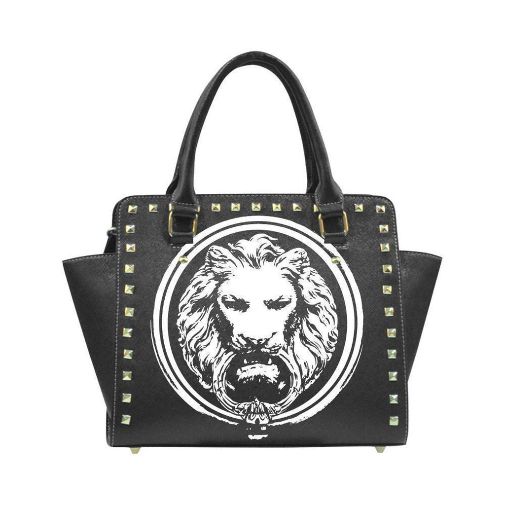 Womens Black Lion  Rivet Stud hand bag,Accessories,NO FIXED ABODE,[uk],[luxury_streetwear],[free_shipping]