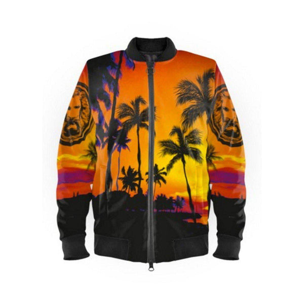 NO FIXED ABODE,Womens Black Palm Tree Beach Bomber Jacket,Jackets and Coats,XXS / Multi / Satin