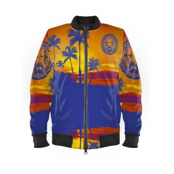 NO FIXED ABODE,Womens Blue & Orange Palm Tree Beach Bomber Jacket,Jackets and Coats,XXS / Multi / Satin Outer and Satin Inner