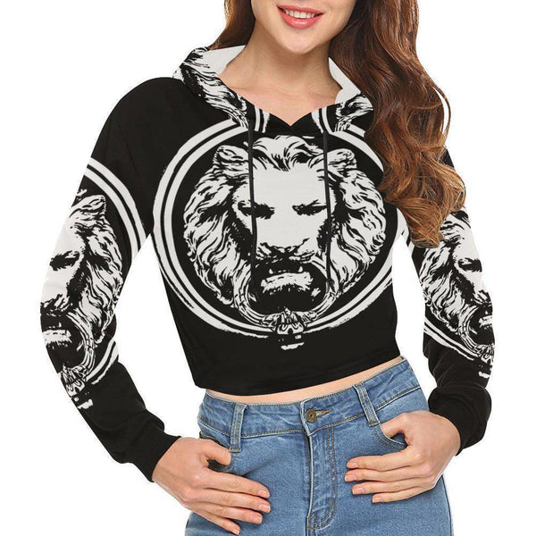 Womens Lion Crop Top Hoodie-Sweatshirts-XS-NO FIXED ABODE Luxury Streetwear UK