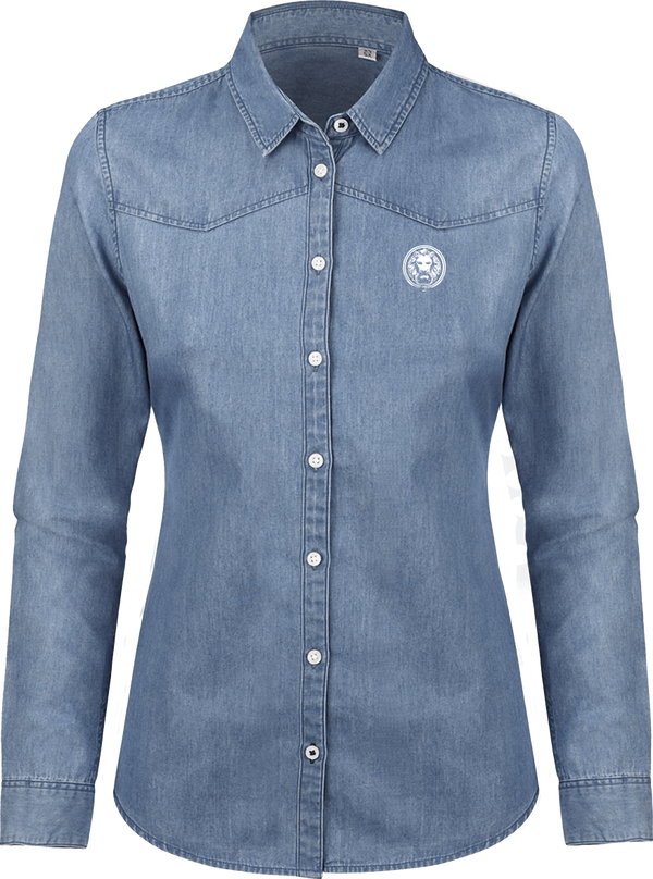 NO FIXED ABODE,Women's Organic Denim Shirt,Shirts,Light Blue / XS