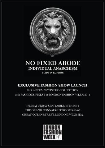 Official No Fixed Abode London Fashion Week Invite