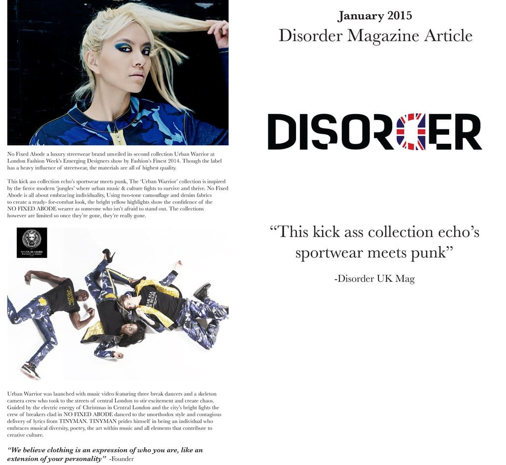 No Fixed Abode Featured In Disorder!