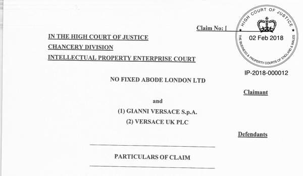 No Fixed Abode London High Court Law Suit Against Versace for ripping of NFA's Trade Mark