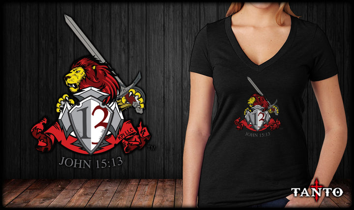 John 15:13 Lion Ladies V-Neck