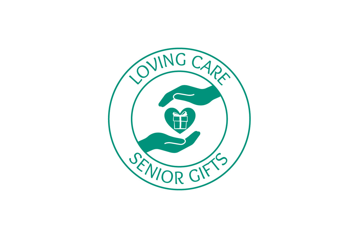 Two open hands giving and receiving a gift of the heart.  Loving Care Senior Gifts