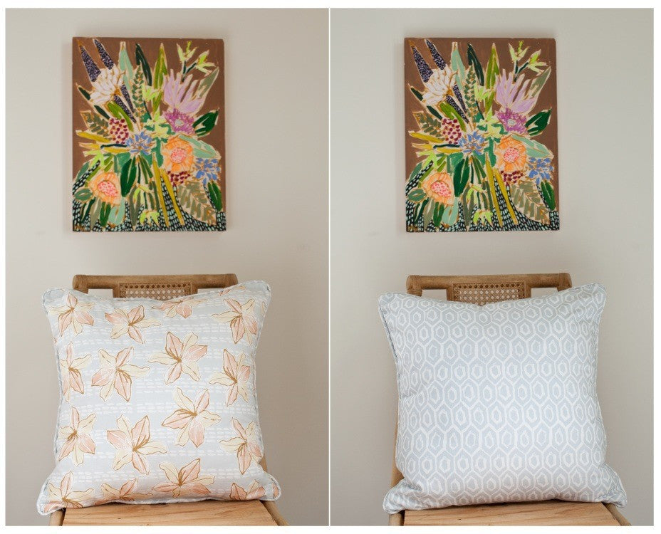 LILIES & HEXAGON PILLOW